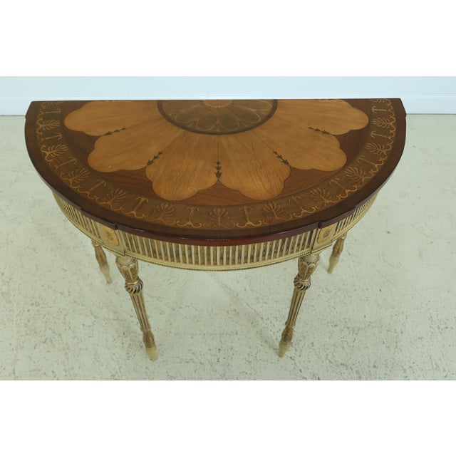 Gorgeous Highly Inlaid Paint Decorated Adam Console Table Age: Approx: 30 Years Old Details: Fine Carved Details High...
