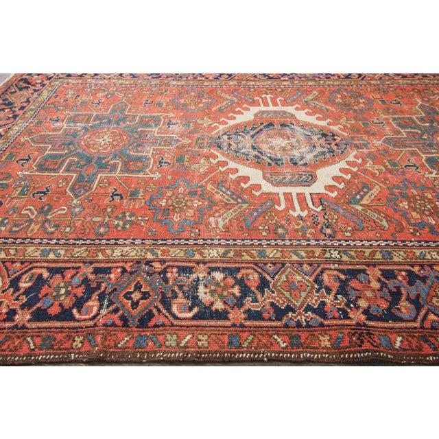 """Antique Heriz Wool Rug- 4'6"""" x 6'3"""" - Image 5 of 7"""