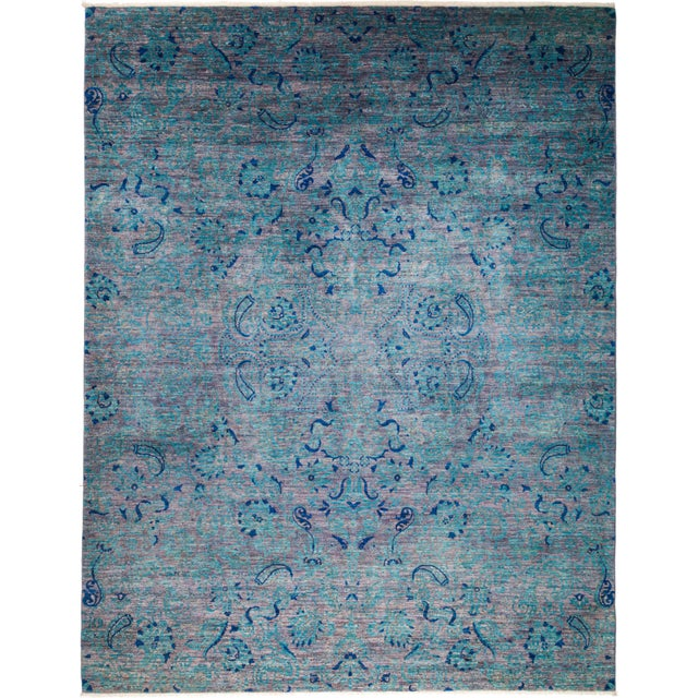 """Suzani Hand Knotted Area Rug - 8' 3"""" X 10' 4"""" For Sale - Image 4 of 4"""