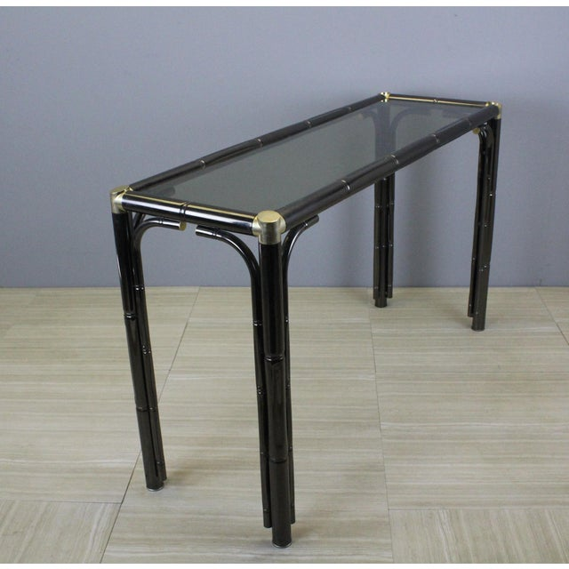 Mid Century Faux Bamboo Console For Sale - Image 9 of 9