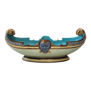 19th Century French Country Sarreguemines Majolica Jardiniere For Sale