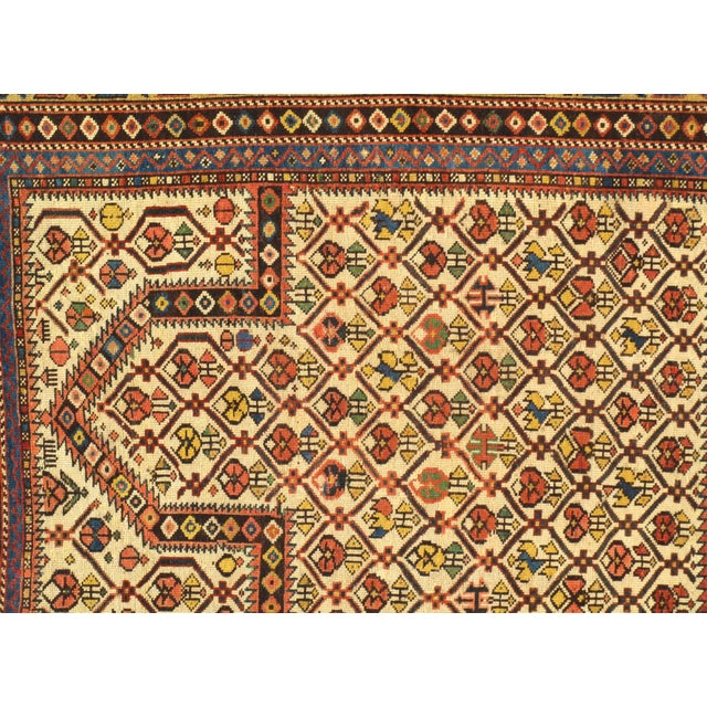 """Pasargad NY Antique Russian Shirvan Hand-Spun Wool Pile Rug - 3'11"""" x 4'3"""" For Sale - Image 4 of 5"""