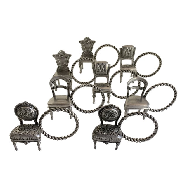 8 Vintage Pewter Victorian Chair Napkin Rings For Sale