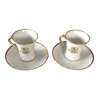 Limoges Coffee or Tea Cups With Saucers GDA - Service for 2 For Sale