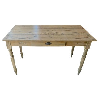19th Century French Country Pinewood Breakfast Table With One Small Centre Drawer For Sale