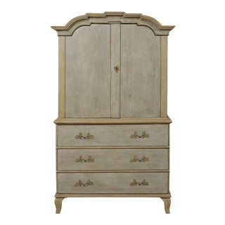 18th Century Swedish Period Rococo Painted Wood Linen Press Cabinet For Sale