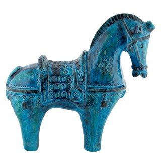 "1960s Large ""Rimini Blu"" Ceramic Horse by Aldo Londi for Bitossi For Sale"