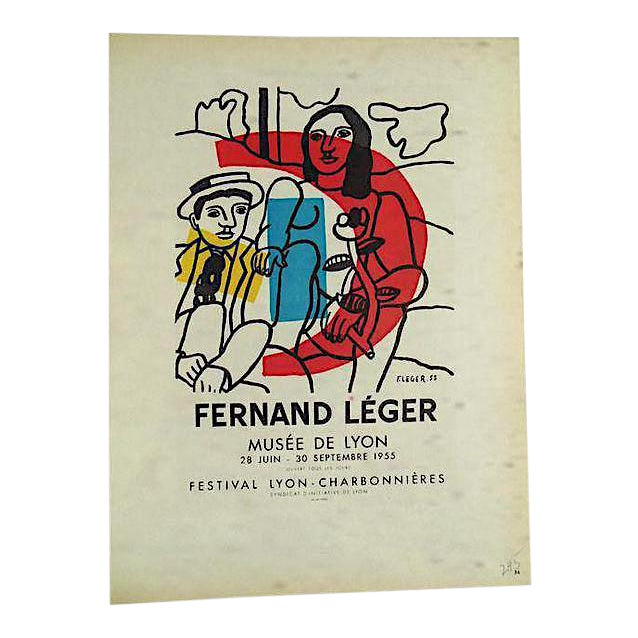 Vintage Mid Century Color Lithograph-Fernand Leger-Printed By Mourlot - Image 1 of 3