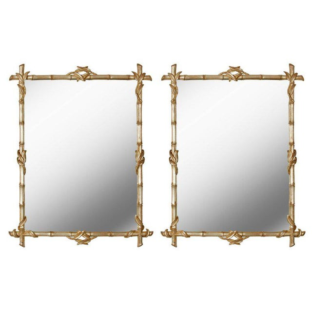 Pair of Silvered Faux Bamboo Mirrors - Image 4 of 4