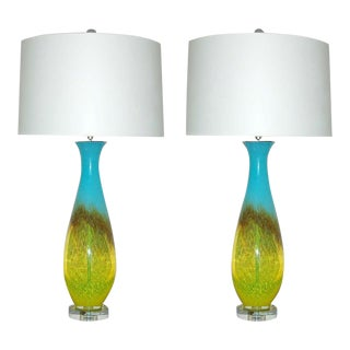 Italian Hand Blown Lamps Yellow Blue For Sale