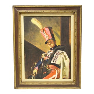 Framed Oil Portrait of a Soldier For Sale