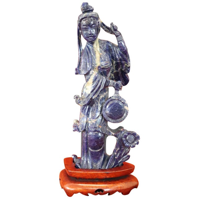 20th Century Chinese Sculpture in Lapis Lazuli Geisha Figure For Sale - Image 10 of 10