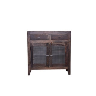 Rustic Porter Wooden Two Door Cabinet for Living Room For Sale