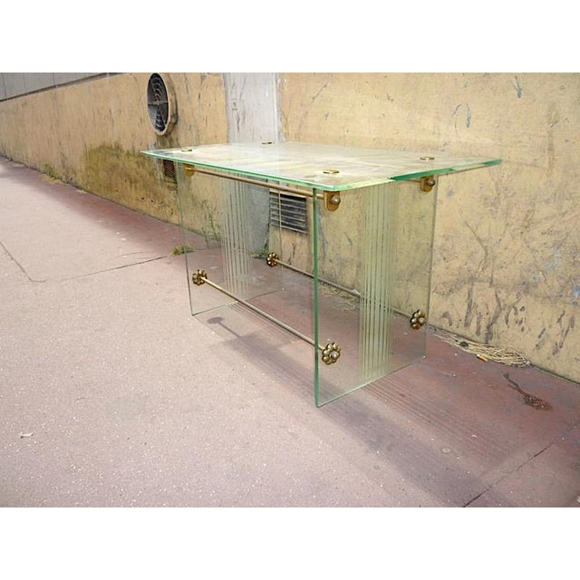 1950s Fontana Arte Vintage Coffee Table in Engraved Glass and Bronze For Sale - Image 5 of 6