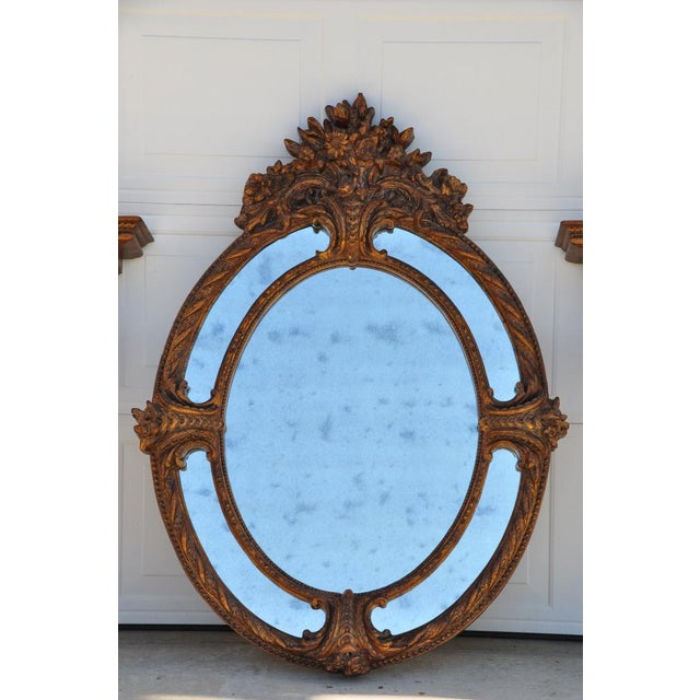 Glass Ornate Napoleon III Style Antiqued Oval Mirror For Sale - Image 7 of 8
