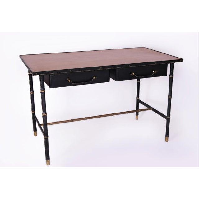 Mid-Century Modern Jacques Adnet Original Black Leather Stitched Desk With Oak Wood Veneer For Sale - Image 3 of 3