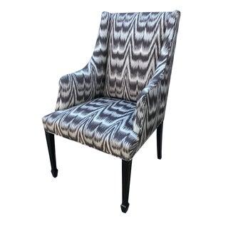 Vintage Kamalia Ikat Print Wingback Chair For Sale