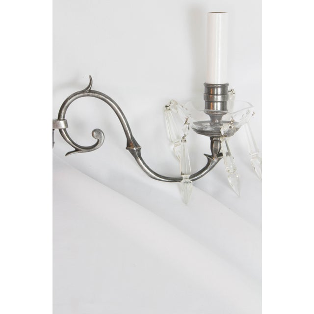 Metal Antique Silver and Crystal Sconces - a Pair For Sale - Image 7 of 10