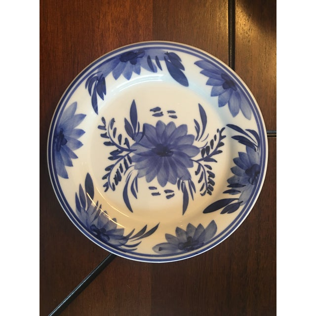 Blue & White Floral Dessert Plates - Set of 12 For Sale - Image 10 of 12