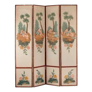 19th Century French Hand Painted Screen For Sale