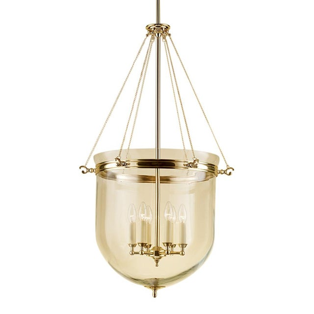 Mid-Century Modern 6 Candle Brass Lantern With Glass For Sale - Image 3 of 3