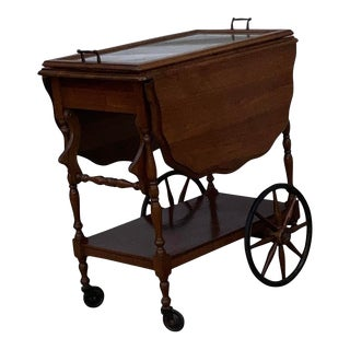 Antique Oak Drop Leaf Bar Cart With Glass Tray For Sale