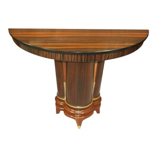 1940s French Art Deco Macassar Ebony Demi-Lune Console Table For Sale