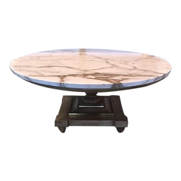 vintage 60 s large round marble topped coffee table with wood