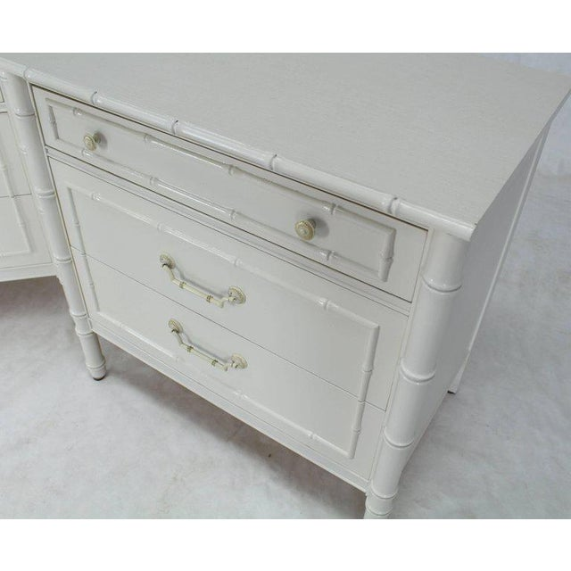 Metal Mid-Century Modern White Lacquer Faux Bamboo Nightstands - a Pair For Sale - Image 7 of 10