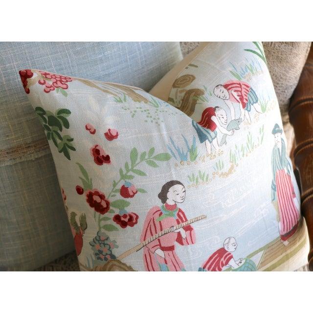 Schumacher Schumacher Yangtze River Pillow Cover in Aqua For Sale - Image 4 of 5