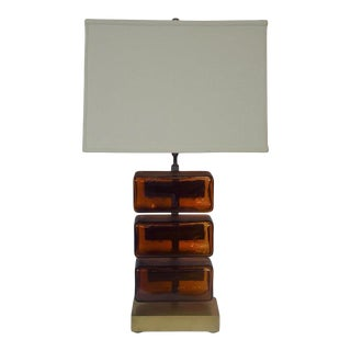 Reclaimed Amber Glass Block Table Lamp For Sale