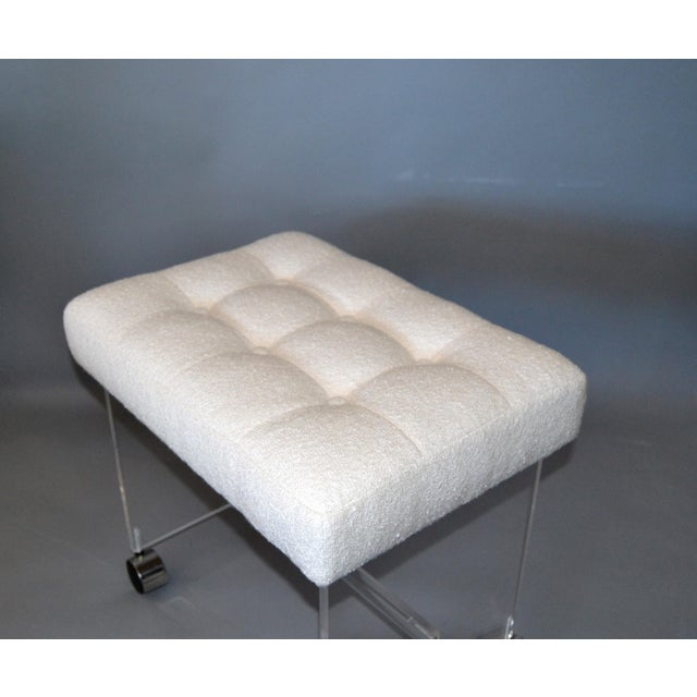 Metal Mid-Century Modern Lucite Stool, Vanity Stool Tufted Boucle Fabric Seat Casters For Sale - Image 7 of 12