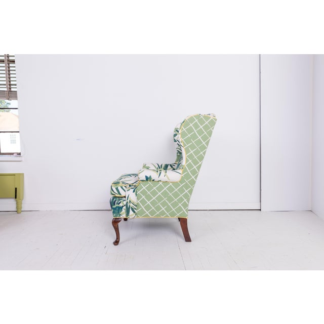 Boho Chic 1960s Vintage Palm Leaf Pattern Fabric Wingback Chair For Sale - Image 3 of 13