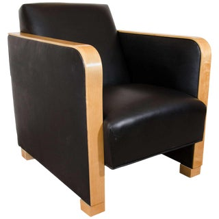 Art Deco Club Chair in Black Motorcycle Leather For Sale