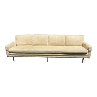 1970s Mid-Century Modern Gold Fabric Upholstered Couch