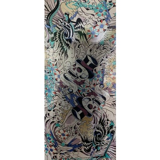 Wonderful Extra Large Silk Scarf Designed by Ed Hardy for Christian Audigier For Sale