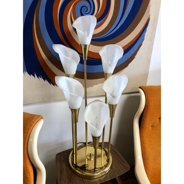 Brass Vintage Mid Century Calla Lily 6 Light Brass Table Lamp For Sale - Image 7 of 7