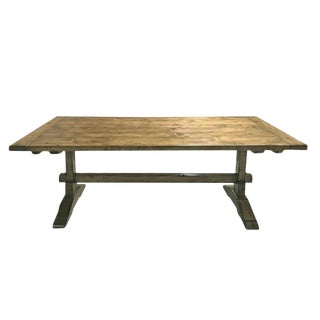 1980s Country Guy Chaddock Farmhouse Trestle Table For Sale