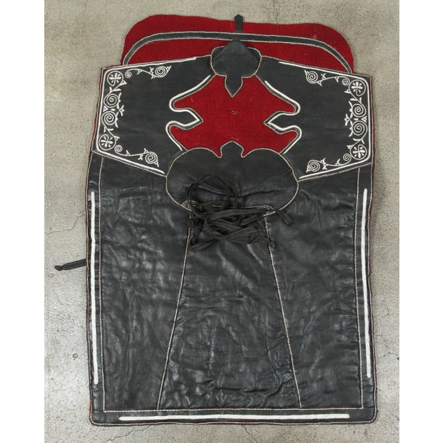 Moroccan Horse Saddle Blanket Black and Red For Sale - Image 10 of 10