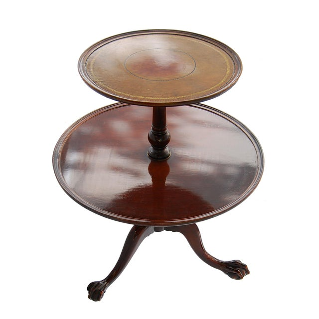 Vintage TwoTier Mahogany & Leather Claw Foot Table - Image 1 of 7