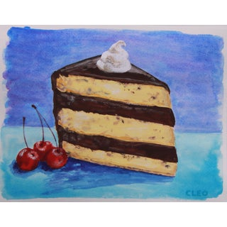 Dessert Cake Still Life Painting by Cleo For Sale