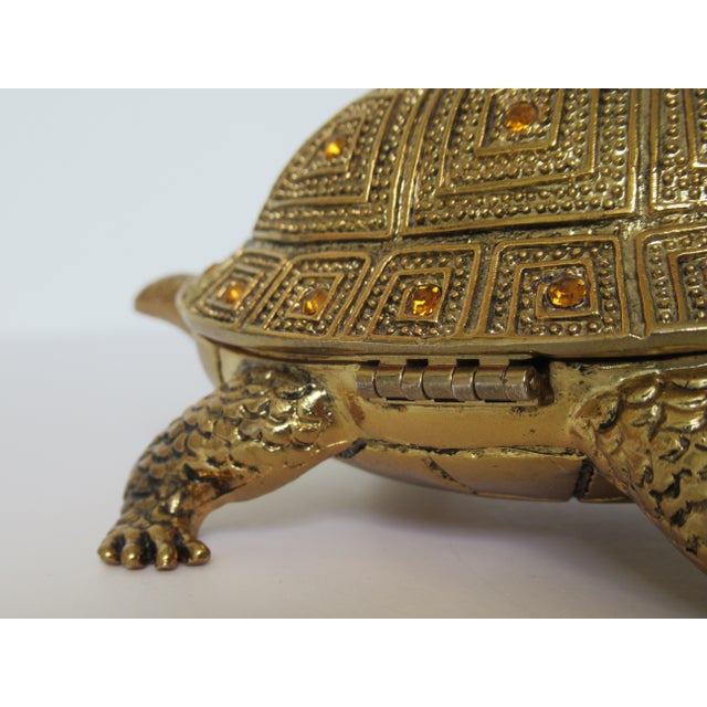 Greek Key Gilt Brass Bejeweled Turtle Lidded Keepsake Box, Letter Opener & Magnifier Set in One - 3 Pieces For Sale - Image 12 of 13