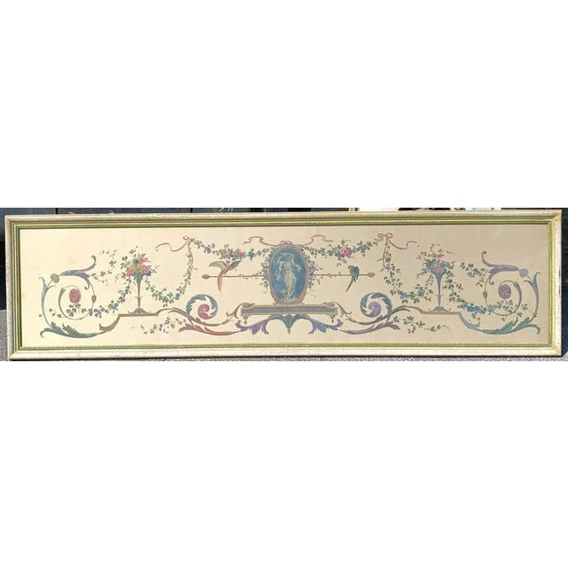 Robert Adam style painted interior architectural panel, framed of substantial size, hand painted on fine silk, well...