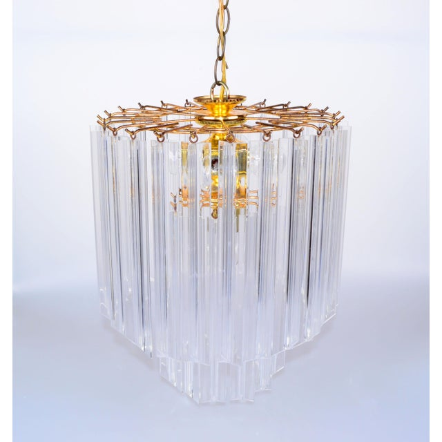 Mid-Century Modern Vintage 5 Light Brass and Lucite Chandelier with Canopy For Sale - Image 3 of 10