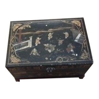 Antique Black Chest on Wooden Base For Sale
