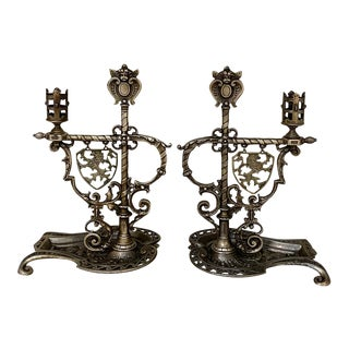 Pair 19th Century French Renaissance Bronze Candleholders For Sale