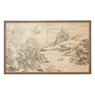 Japanese Edo Four-Panel Screen Hang Zhou Autumn Landscape For Sale