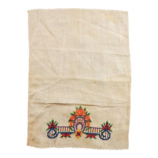Hand Embroidered Linen Table Mat For Sale
