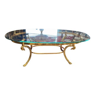 Vintage Brass Swan Gueridon Style Oval Coffee Table For Sale