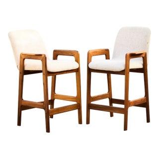 1960s Mid-Century Modern Ecru Upholstered Teak Barstools - a Pair